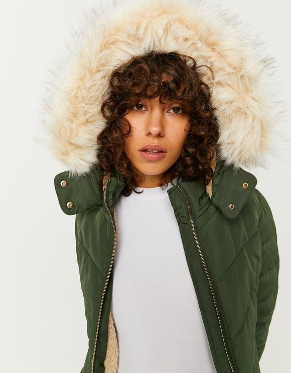 Khaki Puffer Jacket with Faux Fur Trim