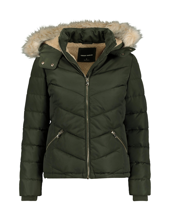 Khaki Puffer Jacket with Faux Fur Trim