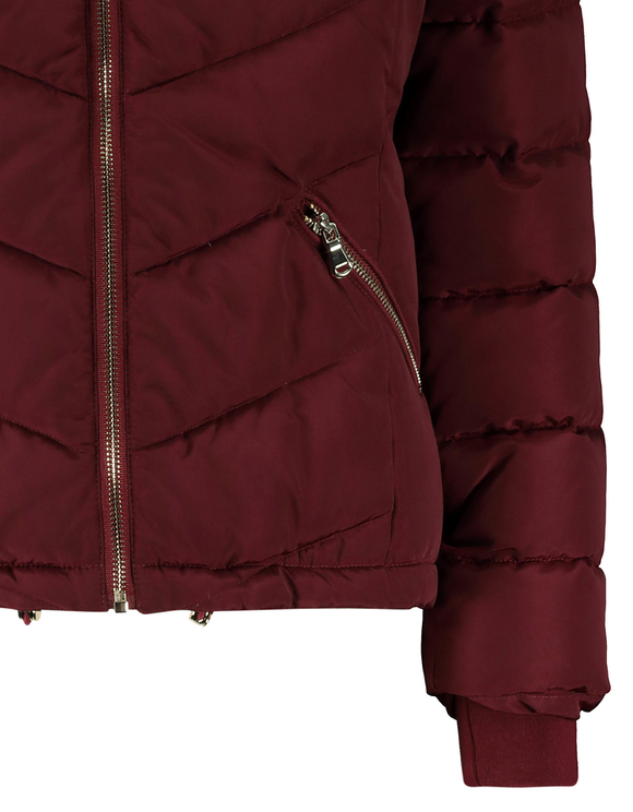 Burgundy Puffer Jacket with Faux Fur Trim