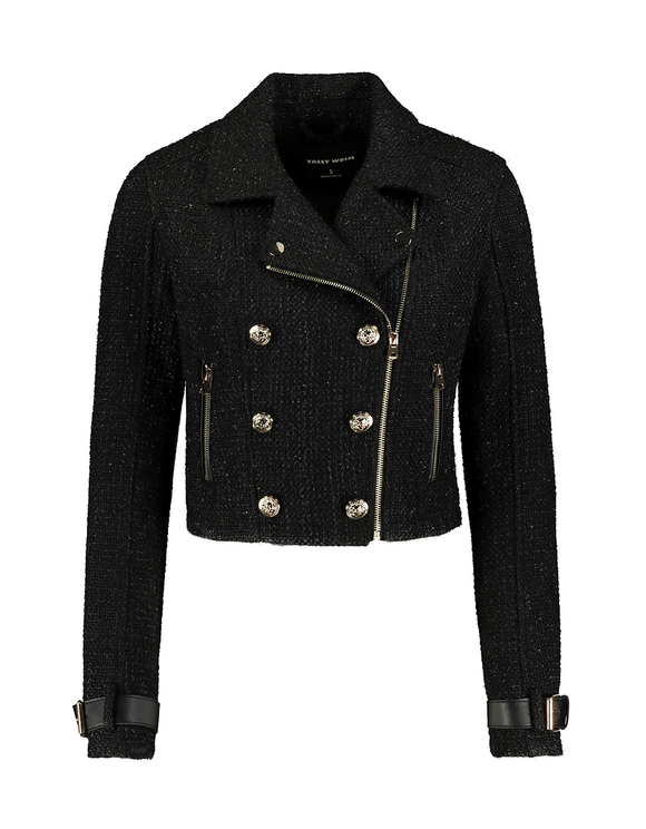 Black Tweed Biker Jacket