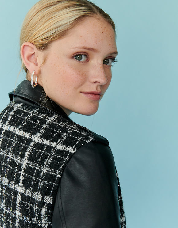 Tweed Biker Jacket with Faux Leather Trim