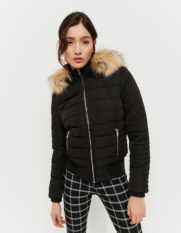 Black Puffer Jacket with Removable Fux Fur