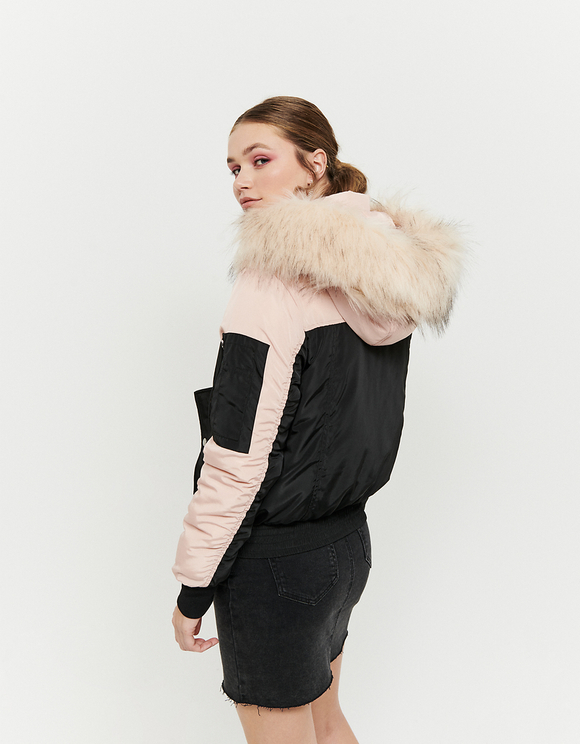 Hooded Puffer Jacket with Faux Fur Trim