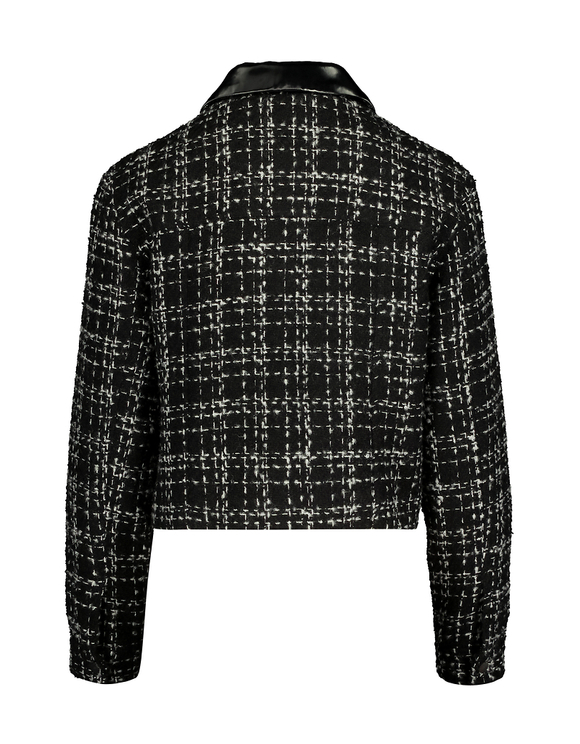 Tweed Jacket with Contrasting Collar