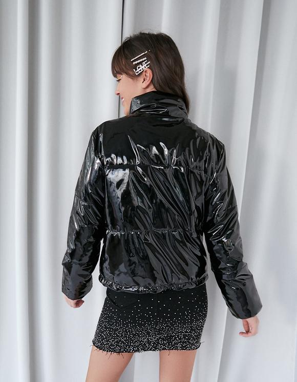 Black Vinyl Puffer Jacket