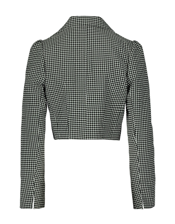 Gingham Cropped open Front Blazer