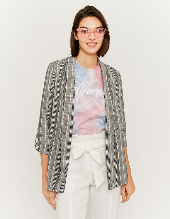 Check Open Front Blazer