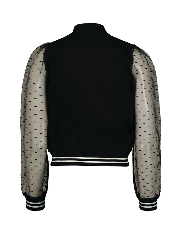 Varsity Jacket with Sheer Sleeves