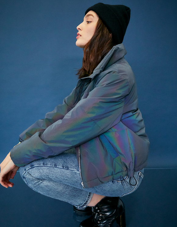 Navy Reflective Puffer Jacket