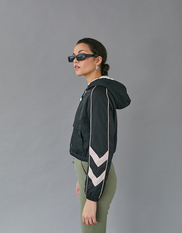 Black Cropped Windbreaker