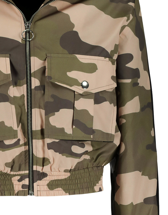 Camo Print Windbreaker Jacket
