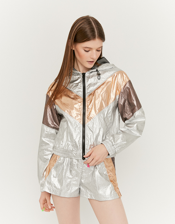 Metallic Windbreaker Jacket