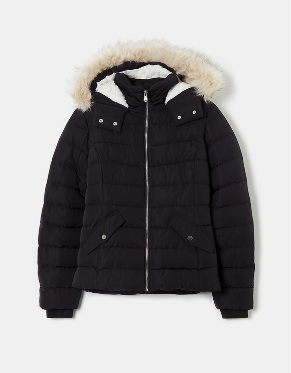 Black Padded Jacket with Hood