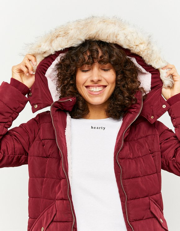 Burgundy Padded Jacket with Hood