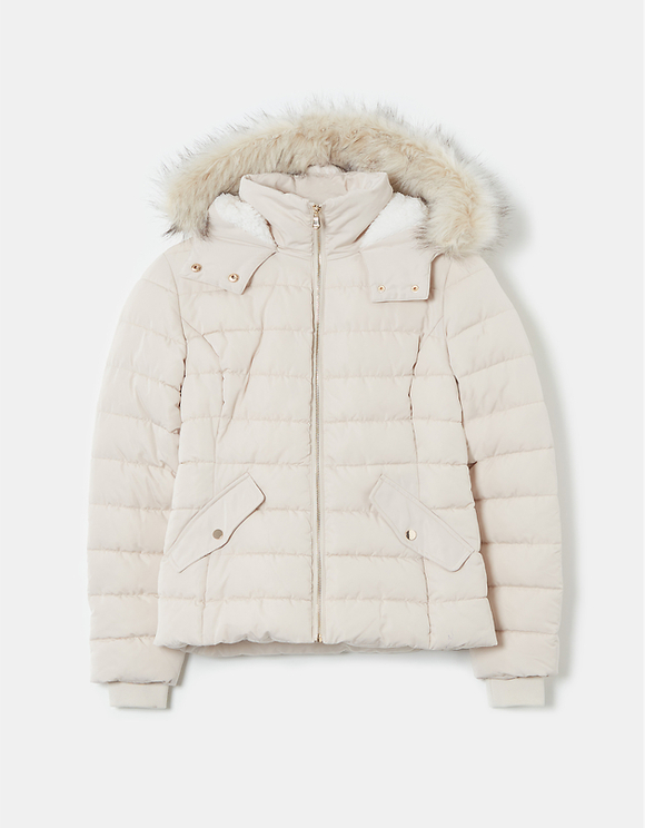 Off White Padded Jacket with Hood