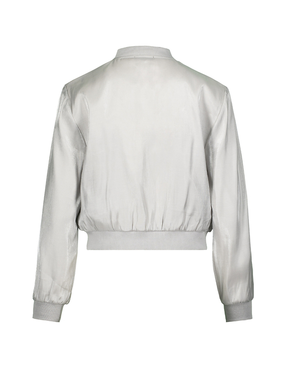 Silver Cropped Jacket with Metallic Effect