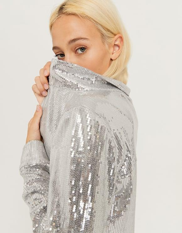 Silberbe Hemdjacke mit Stoffverzierung