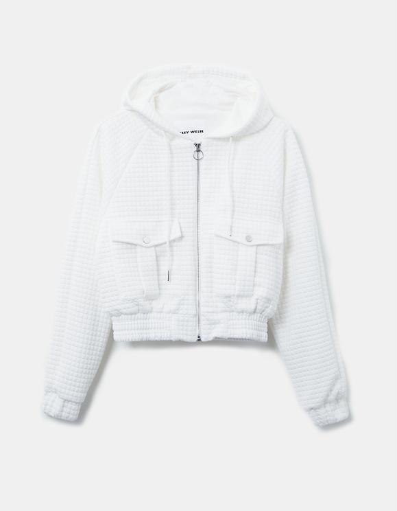 Weiße Jacke aus Waffelmuster