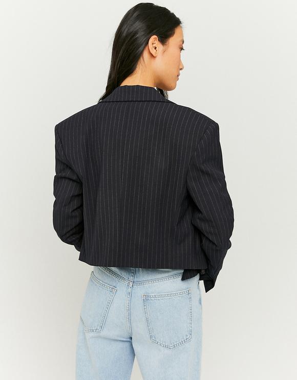 Pinstripe Oversized Crop Blazer