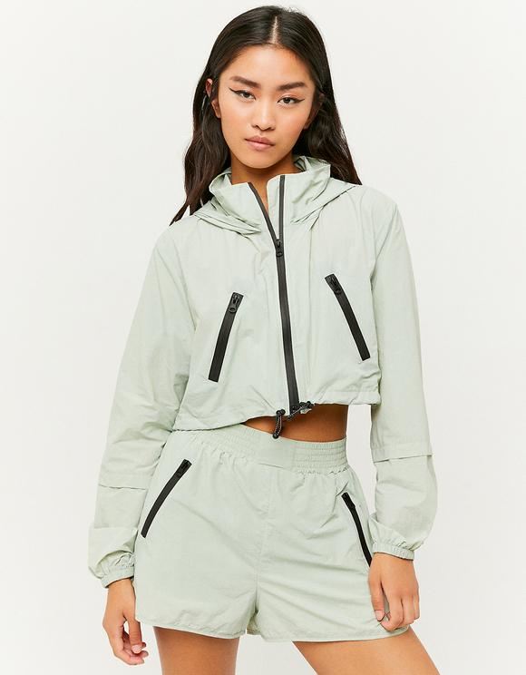 Green Lightweight Windbreaker Jacket