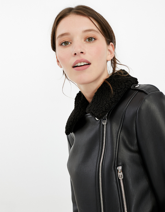 Black Faux Leather Biker Jacket with Faux Shearling Details