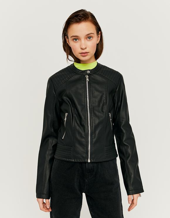 Schwarze Jacke aus Kunstleder