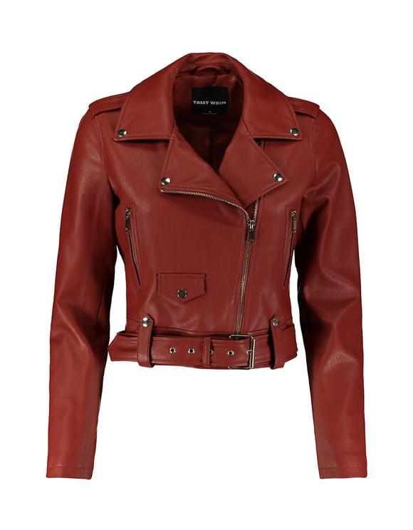 Belted Faux Leather Biker Jacket