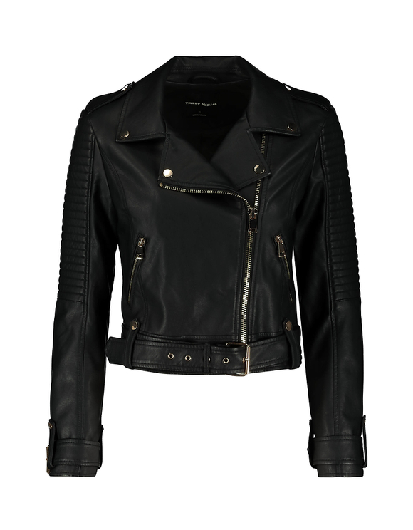 Black Biker Jacket with Belt Details