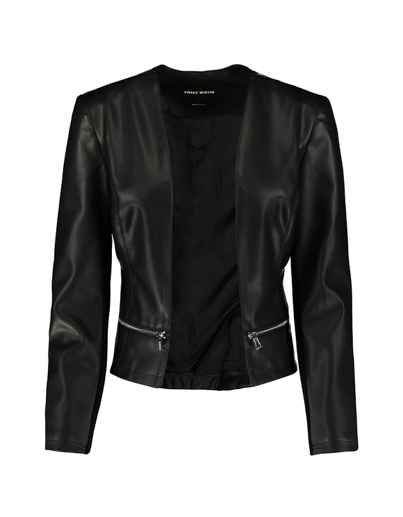 Front Open Faux Leather Jacket