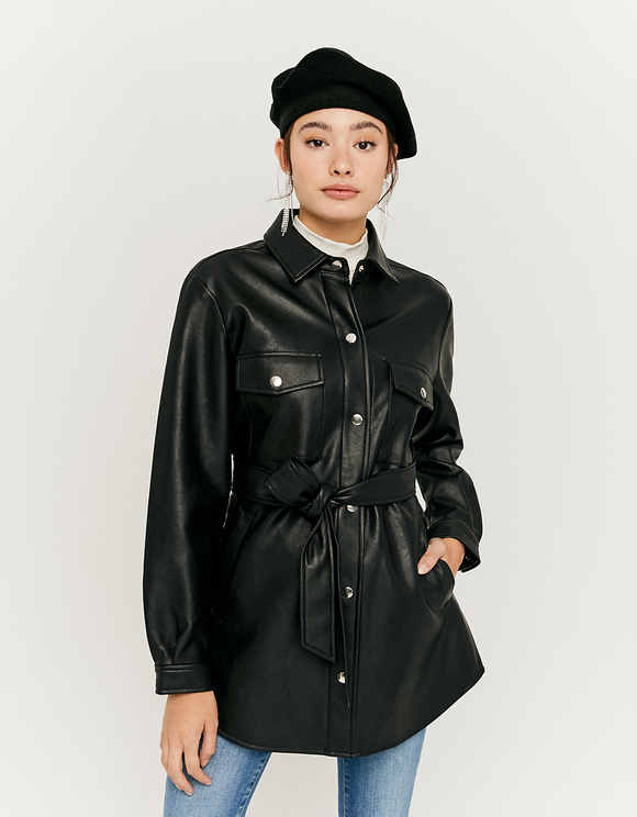 Black Faux Leather Shacket