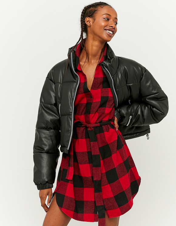 Faux Leather Padded Jacket