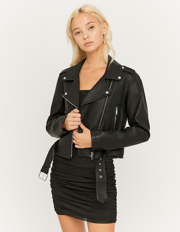 Black Belted Faux Leather Biker Jacket