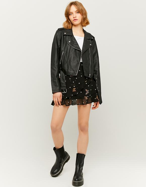 Black Belted Faux Leather Biker Jacket