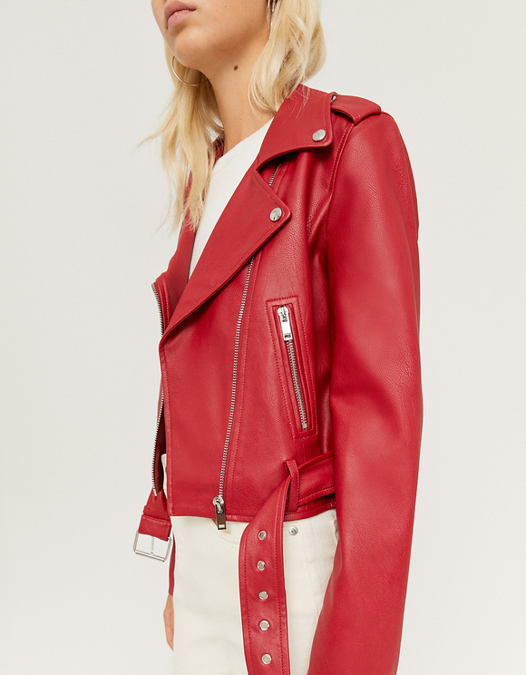 Red Belted Faux Leather Biker Jacket