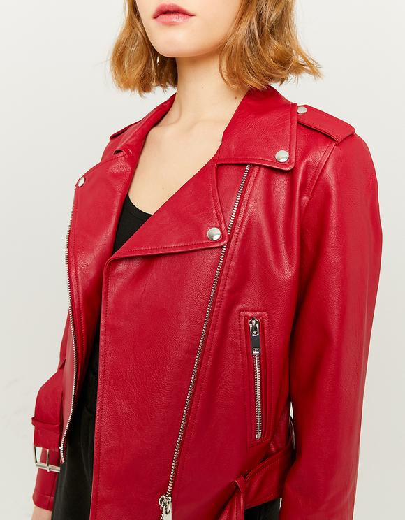Red Belted Faux Leather Biker Jacket