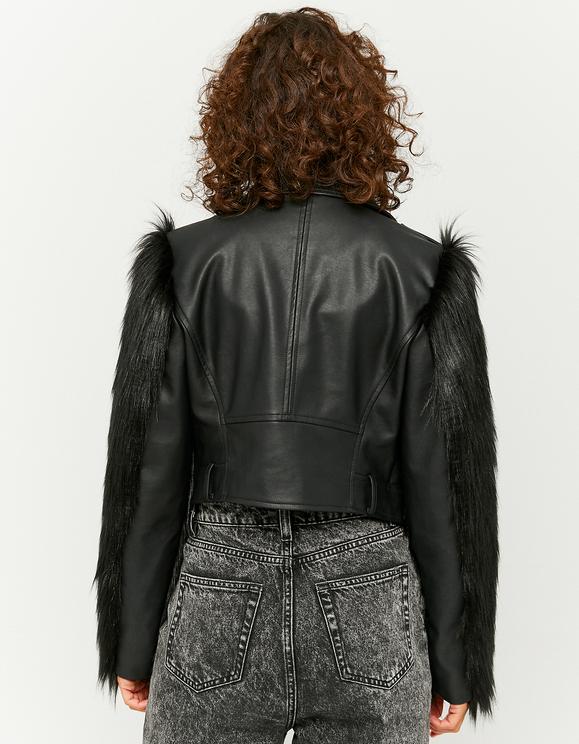 Faux Leather Faux fur sleeve Biker Jacket