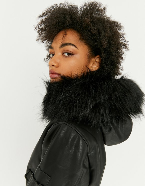 Faux Leather Jacket with Faux Fur Hood