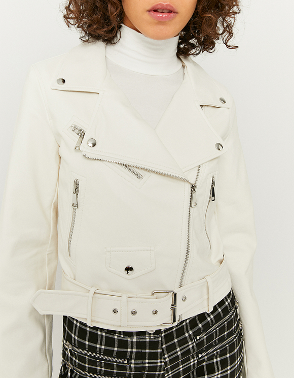 White Belted Faux Leather Biker Jacket