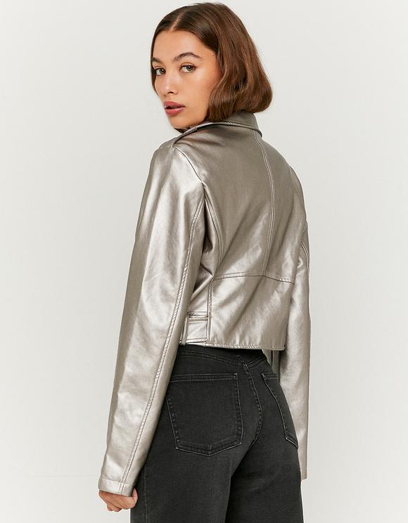 Grey Faux Leather Biker Jacket