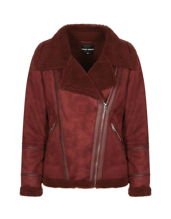 Bordeaux-rote Jacke in Wildlederoptik