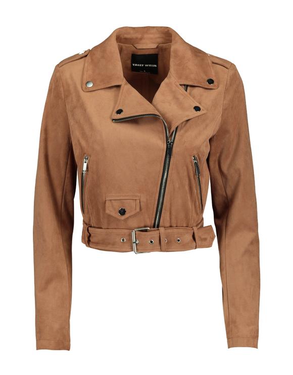 Cropped Faux Suede Biker Jacket