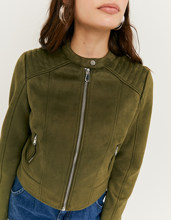 Khaki Faux Suede Jacket | TALLY WEiJL