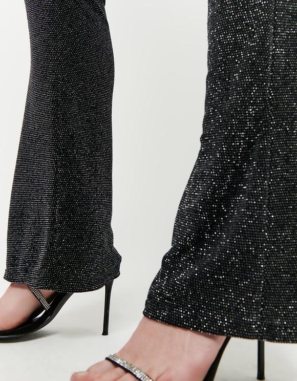 Schwarze Flare Leggings aus Lurex