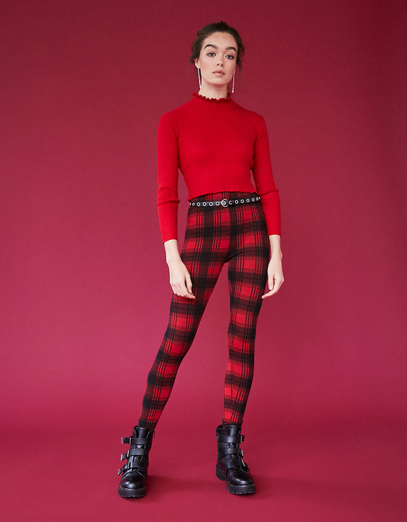 Red Checked Leggings