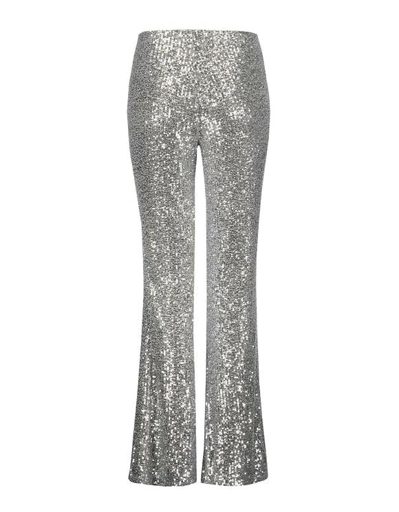 Silver Sequins Flare Leggings