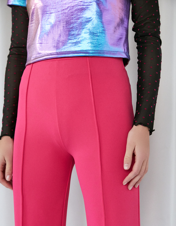 Neon Pink Dressy Flare Leggings