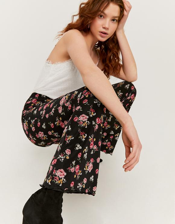 Mesh Flower Print Flare Leggings