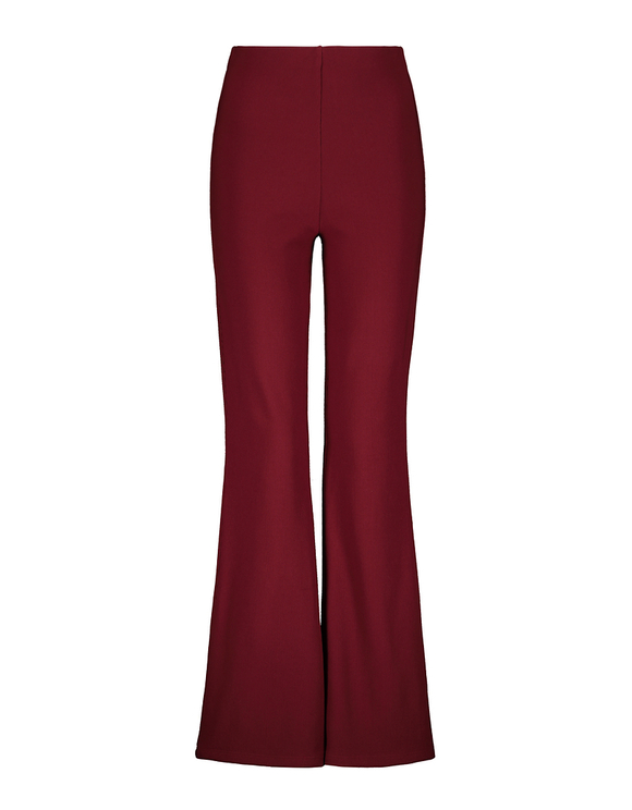 Bordeauxrote gerippte Flare Leggings