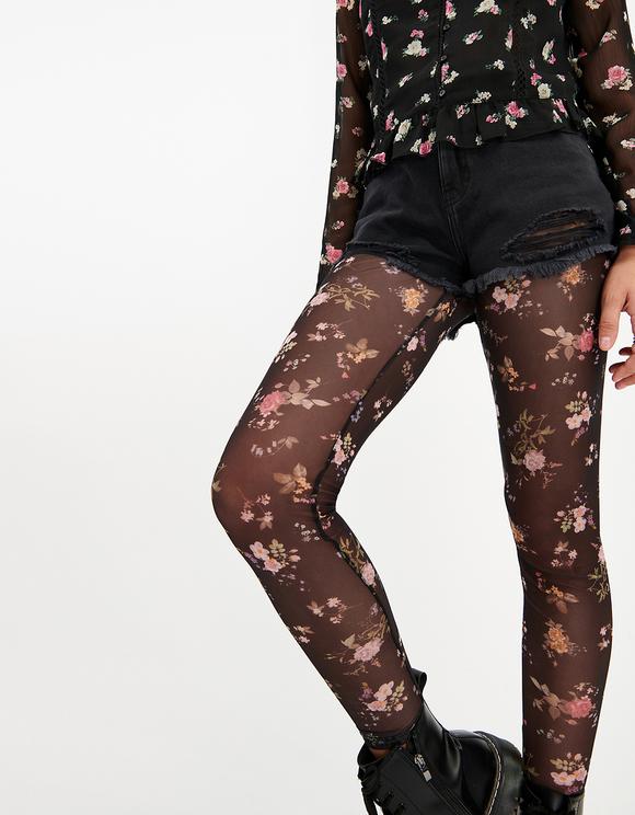 Mesh-Leggings mit Blumen