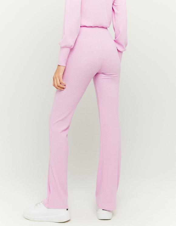 Pink Ribbed Flare Leggings